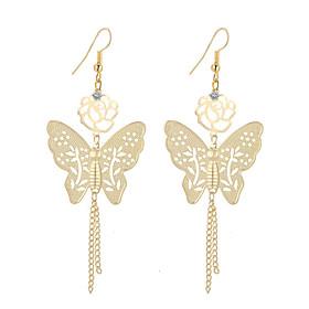 Women's Crystal Tassel Drop Earrings Dangle Earrings - Silver Plated, Gold Plated Flower, Butterfly Tassel, Bohemian, Fashion Gold / Silver For Party Daily / 2