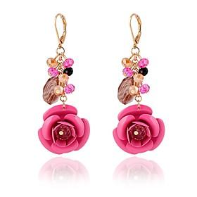 Women's Drop Earrings - Crystal Flower Classic, Fashion Dark Blue / Fuchsia / Green For Daily / 2pcs