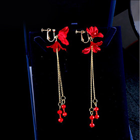 Women's Clip on Earring Earrings Flower Ladies Korean Jewelry Red For Daily Evening Party