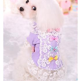 Собака Футболка Одежда для собак На каждый день Принцесса Лиловый Розовый Костюм Для домашних животных 6418711