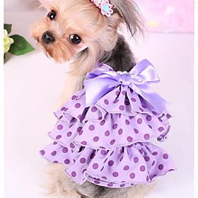 Cane Vestiti Abbigliamento per cani Casual Pois Viola Rosa Costume Per animali domestici 6418713