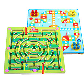 Wooden Puzzles Maze Toys Plane Fairytale Theme Stress and Anxiety Relief Decompression Toys Classic Kids Adults' 2 Pieces 6451980