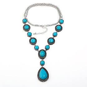 Women's Turquoise Statement Necklace Y Necklace Long Necklace Turquoise Drop Ladies Vintage Bohemian Boho Turquoise Necklace Jewelry For Gift Evening Party
