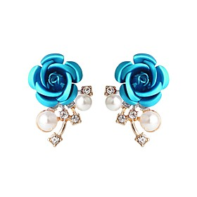 Women's Stud Earrings - Crystal, Imitation Pearl Flower Vintage, Fashion Blue For Party Evening Party
