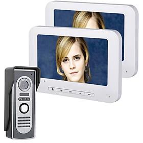 MOUNTAINONE 7 Inch TFT 2 Monitors Video Door Phone Doorbell Intercom Kit 1-camera 2-monitor Night Vision with HD 700TVL Camera