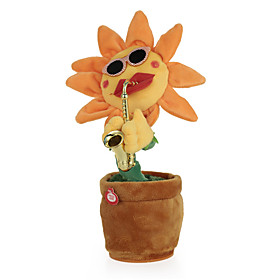 Dancing Flower Enchanting Sunflower with Saxophone Soft Stuffed Plush Toys Funny Electric Toys for Kids Gift 6456982