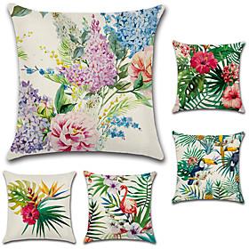 5 Pcs Cotton/linen Pillow Cover, Floral Bohemian Style Retro