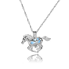 Women's All Fashion Colorful Illuminated Pendant Necklace , Silver Plated Luminous Stone Alloy Pendant Necklace , Gift New Year 6528479