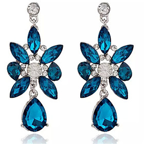 Women's Crystal Drop Earrings Crystal Imitation Diamond Earrings Drop Ladies Fashion Jewelry Blue For Daily Going out