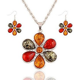 Women's Crystal Jewelry Set - Crystal Flower Classic, Fashion Include Drop Earrings Pendant Necklace Silver For Daily