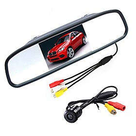 ZIQIAO 4.3 Inch Digital TFT LCD Mirror Monitor and CCD HD Car Rear View Camera