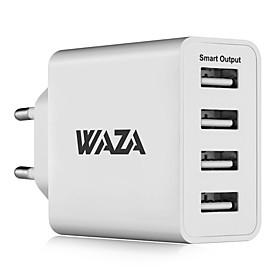 waza 25w væg oplader 4-port udgangslader 2,4a max smart output hver port til iphone, galaxy, lg, piexl, moto osv. 6447852