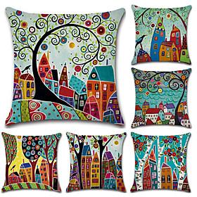 6 Pcs Cotton/linen Pillow Cover, Botanical Bohemian Style Retro