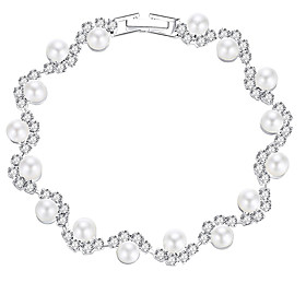 Women's Tennis Bracelet Bracelet Imitation Pearl Ladies European Fashion Elegant Bracelet Jewelry Silver For Wedding Party