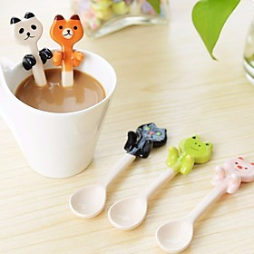 Cute Animal Spoon Ceramic Coffee Tea Sauce Spoon Scoop Stirring Mixing Spoon Random Color 1590928