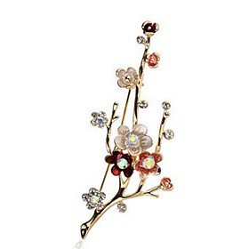 Women's Synthetic Diamond Brooches Imitation Diamond Flower Ladies Classic Fashion Brooch Jewelry Gold For Daily Formal