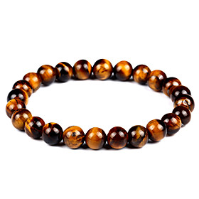 Women's Unisex Onyx Tiger's eye Stone Bead Bracelet Bracelet Natural Stone Vintage Bohemian Fashion Bracelet Jewelry Brown For Gift Evening Party
