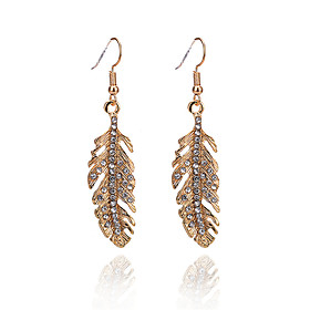 Women's Drop Earrings - Imitation Diamond Leaf Simple, Fashion Gold For Daily Going out