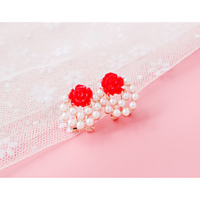 Women's Stud Earrings Clip on Earring - Imitation Pearl Rhinestone Jewelry Light Yellow / Red / Pink For Daily Casual