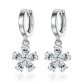 Women's Cubic Zirconia Drop Earrings - Zircon Flower Fashion, Elegant Silver For Daily Ceremony