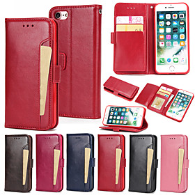 Case For Apple iPhone 8 / iPhone 7 Wallet / Card Holder / with Stand Full Body Cases Solid Colored Hard PU Leather for iPhone 8 Plus / iPhone 8 / iPhone 7 Plus