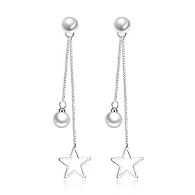 Women's Cubic Zirconia Drop Earrings - Imitation Pearl Basic, Fashion Silver For Daily Ceremony