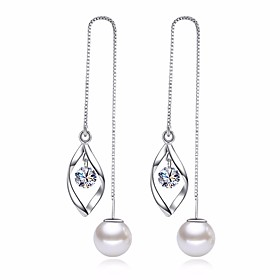 Women's Cubic Zirconia Long Drop Earrings Earrings Leaf Ladies Basic Fashion Jewelry Silver For Daily Ceremony