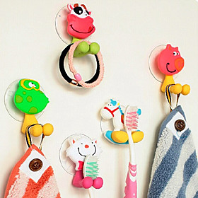 Hooks Toothbrush Multi-function Adjustable Easy to Use Self-adhesive Removable Cute Creative Cartoon Silicon Rubber PVC Bathroom 6602744
