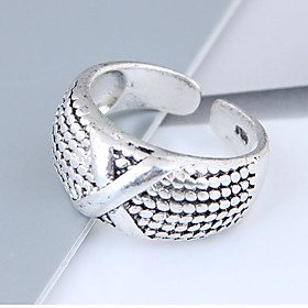 Women's X Ring Band Ring Alloy Ladies Vintage European Fashion Ring Jewelry Silver For Daily Adjustable