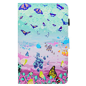 Case For Samsung Galaxy Tab A 8.0 (2017) Card Holder / with Stand / Flip Full Body Cases Butterfly Hard PU Leather for Tab A 8.0 (2017)