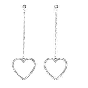 Women's Long Drop Earrings Zircon Earrings Heart Ladies Fashion Jewelry Silver For Party / Evening Evening Party