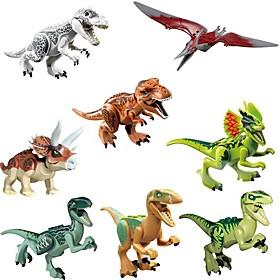 Interlocking Blocks Dinosaur Animal Classic 8 pcs Pieces Kid's Boys' Girls' Toy Gift