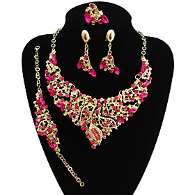 Women's Jewelry Set - Leaf Statement, Vintage, Oversized Include Bracelet Bangles Chain Necklace Statement Ring Purple / Rainbow / Red For Wedding Party / Dang
