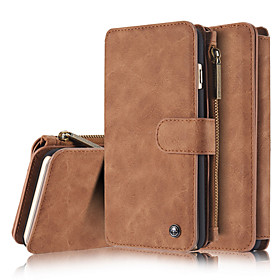 Case For Apple iPhone X / iPhone 8 Wallet / Card Holder / with Stand Full Body Cases Solid Colored Hard Genuine Leather for iPhone X / iPhone 8 Plus / iPhone 8