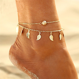 Women's Layered Anklet Leaf Ladies Bohemian Bikini Boho Multi Layer Anklet Jewelry Gold / Silver For Gift Evening Party