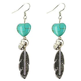 Women's Turquoise Drop Earrings / Dangle Earrings - Leaf, Heart, Feather Vintage, Bohemian, Boho Silver For Gift / Evening Party