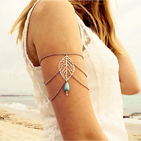 Turquoise Arm Chain Leaf, Drop Vintage, European Women's Silver Body Jewelry For Going out / Bikini