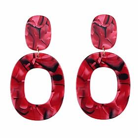 Women's Drop Earrings Hoop Earrings - European Red / Pink / Light Coffee For Daily Formal