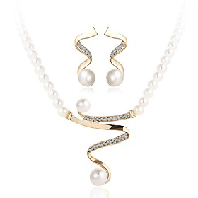 Women's Pearl Jewelry Set - Imitation Pearl Wave Simple Include Gold For Ceremony Festival / Earrings