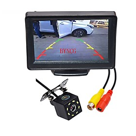BYNCG WG4.3T-8LED 4.3 inch TFT-LCD 480TVL 480p 1/4 inch CMOS PC7030 Wired 120 Degree 1pcs 120° 0.3inch Car Rear View Kit LED indicator for