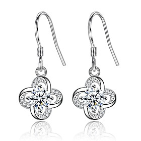 Women's Cubic Zirconia Drop Earrings - Zircon Clover Sweet, Fashion Silver / Purple For Daily Date