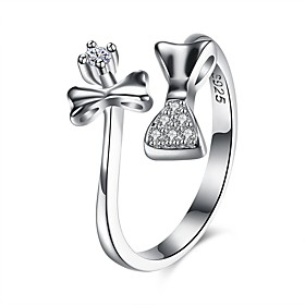 Women's Cubic Zirconia Open Cuff Ring wrap ring S925 Sterling Silver Bowknot Ladies Fashion Ring Jewelry Silver For Gift Daily Adjustable