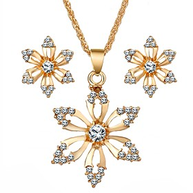 Women's Synthetic Diamond Jewelry Set Imitation Diamond Flower Ladies, Sweet Include Gold For Daily Festival / Earrings