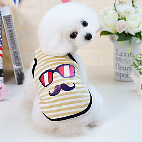 Dogs Cats Pets Vest Dog Clothes Striped Cartoon Yellow Blue Pink Cotton / Polyester Costume For Dalmatian Beagle Pug Spring Summer Male Japan and Korea Style C