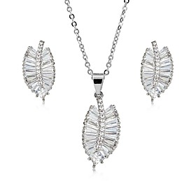 Women's Cubic Zirconia Jewelry Set - Zircon, Silver Plated, Gold Plated Leaf Sweet, Elegant Include Drop Earrings Pendant Necklace Gold / Silver For Wedding Pa