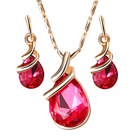 Women's Crystal Jewelry Set - Drop Sweet, Fashion, Elegant Include Drop Earrings Pendant Necklace Bridal Jewelry Sets Purple / Red / Blue For Wedding Gift