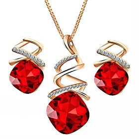 Women's Cubic Zirconia Jewelry Set Drop, Lips Ladies, European Include Stud Earrings Pendant Necklace Purple / Red / Blue For Daily