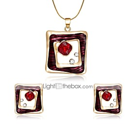 Women's Cubic Zirconia Geometrical Jewelry Set Zircon, Gold Plated Ladies Include Stud Earrings Pendant Necklace Red For Wedding Evening Party