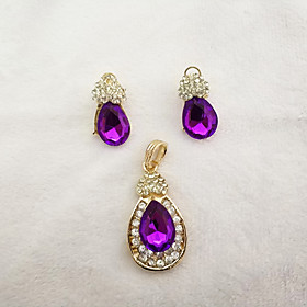 Women's Jewelry Set - Drop Vintage, Fashion, Elegant Include Stud Earrings Pendant Purple For Party Formal