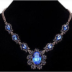 Women's Sunflower Flower Crystal Statement Necklace  -  Fashion Light Blue Dark Gray Royal Blue Necklace For Party Special Occasion 4853034